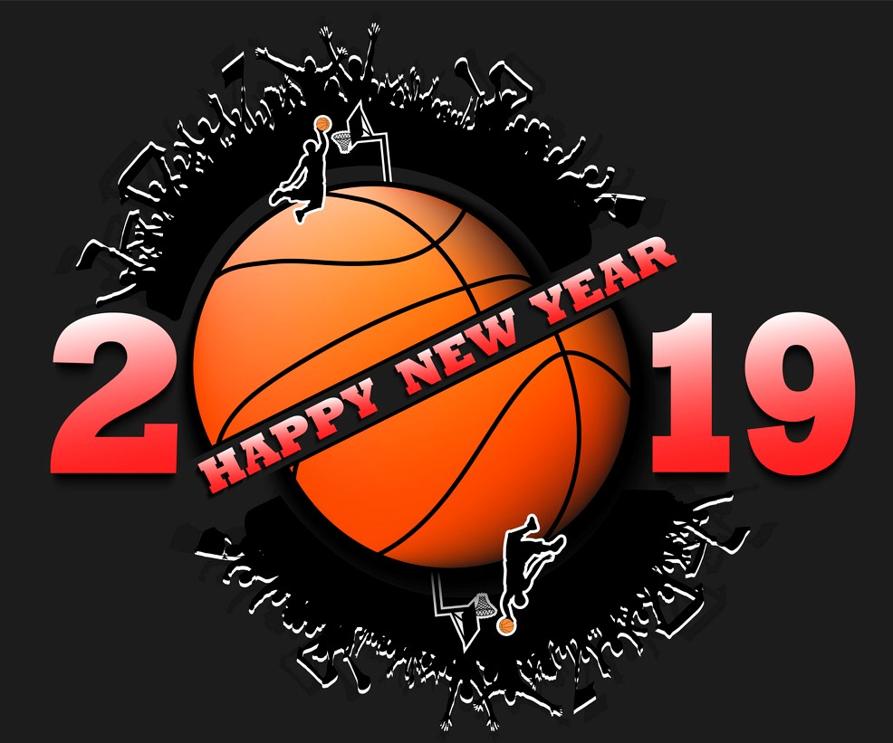 happy new year 2019 and basketball ball vector 22795894